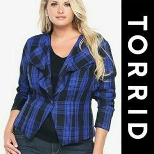 Torrid   Blue & Black Plaid Jacket